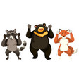 three animals dancing white background vector image vector image
