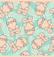 tropical pattern with cute sloth vector image