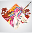 unicorn summer sunset summer at beach with coconut vector image vector image