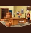 young couple carrying boxes during house moving vector image vector image
