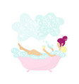 young tiny woman bathing and drinking wine vector image