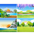 Four nature scenes with lake and park vector image