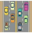 Highway traffic with top view cars and trucks vector image