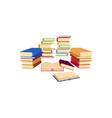 flat books pile stacks column heap vector image