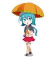 anime girl holding umbrella vector image
