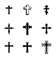 black christia crosses icons set vector image vector image