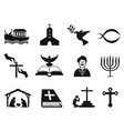 black christian religious icons set vector image