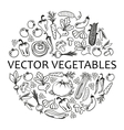 black icon vegetables set vector image