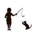 black silhouette girl play with cat vector image