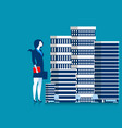 businesswoman owner of skyscraper buildings vector image