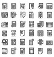 calculator icons set outline style vector image vector image