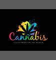 cannabis leaf on multicolored gradient vector image vector image