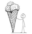 cartoon of man leaning on big cone of ice cream vector image