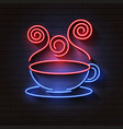 coffee blue glowing neon icon glowing sign logo vector image vector image