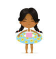 cute african-american girl stay in inflatable vector image