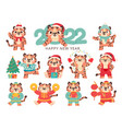 cute tiger 2022 chinese happy new year symbol vector image vector image