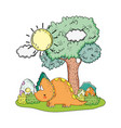 cute triceratops in the landscape character vector image