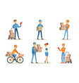 delivery service and logistics set couriers vector image vector image