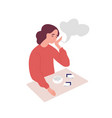 depressed young woman smoking cigarettes concept vector image vector image