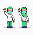 during pandemic moslem kids wear face mask vector image vector image