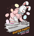 easter rabbit dj music party vector image