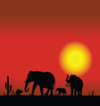 elephant family in desert black silhouette vector image vector image