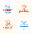 farm meat poultry and dairy logos set abstract vector image