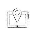 figure tablet technology with location map symbol vector image vector image