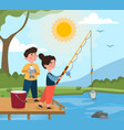 fishing in pond concept vector image
