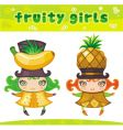 Fruity girls series 4 banana pineapple vector image