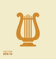 golden lyre icon with scuffed effect in a separate vector image vector image