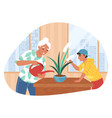 grandson helping his grandmother with housework vector image vector image