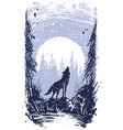 graphic howling wolf standing on stone in forest vector image