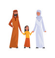 happy arab family in traditional clothes muslim vector image vector image