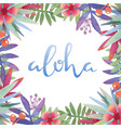 hawaii aloha with tropical leaves frame vector image