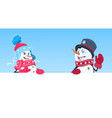 holiday decorartion snowman couple holding banner vector image