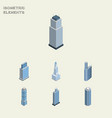 isometric skyscraper set of tower urban vector image