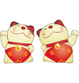 Japanese cat doll cartoons vector image