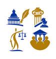 law justice firm logo pillar gavel design vector image vector image