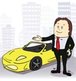 Man and comfortable car in big city vector image vector image