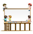 many children painting the board vector image vector image