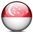 Map on flag button of Republic Singapore vector image vector image