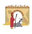merry christmas nativity christian cartoon vector image vector image