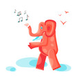 orange elephant goes and sings vector image