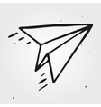 paper airplane isolated hand drawn vector image vector image