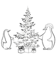 penguins and christmas vector image vector image