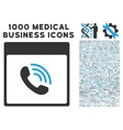 Phone Call Calendar Page Icon With 1000 Medical vector image vector image