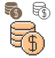 pixel icon coins stack in three variants fully vector image vector image