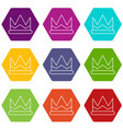 prince crown icons set 9 vector image vector image