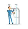 proffesional plumber man character installing a vector image vector image